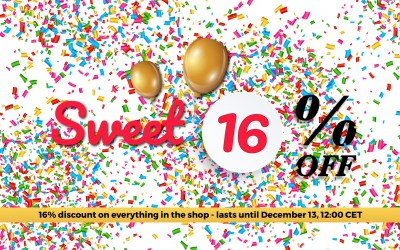 Sweet Sixteen Offer - 16% Discount on Everything in the Shop