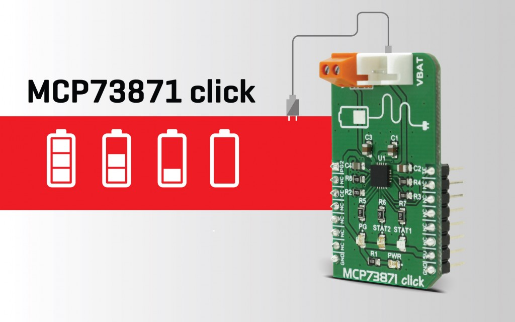 MCP73871 click – reliable charging for Li-Ion/Li-Po battery