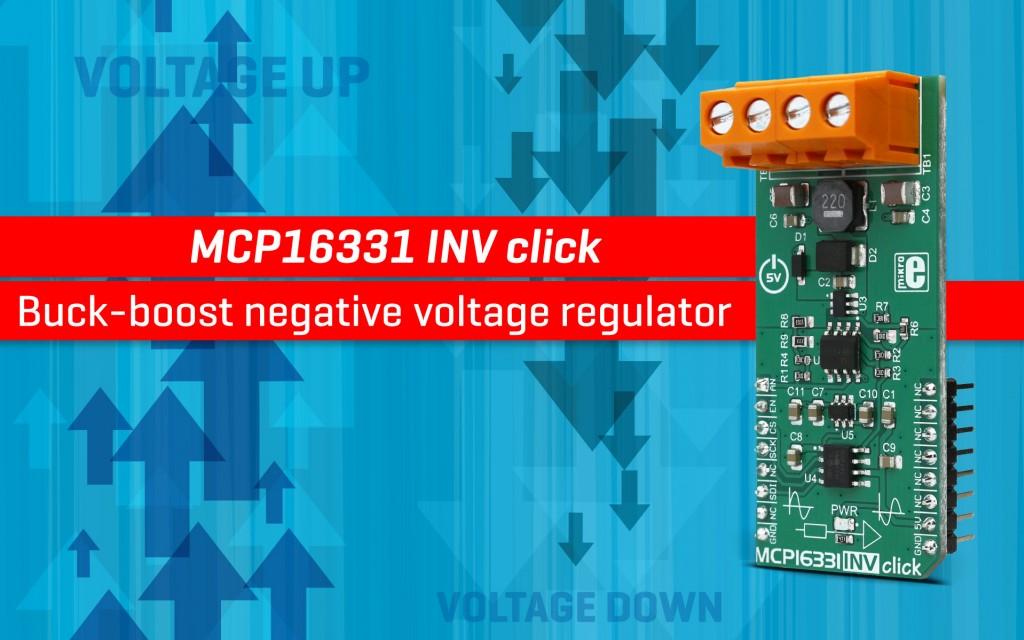 MCP16331 INV click - buck-boost negative voltage regulator