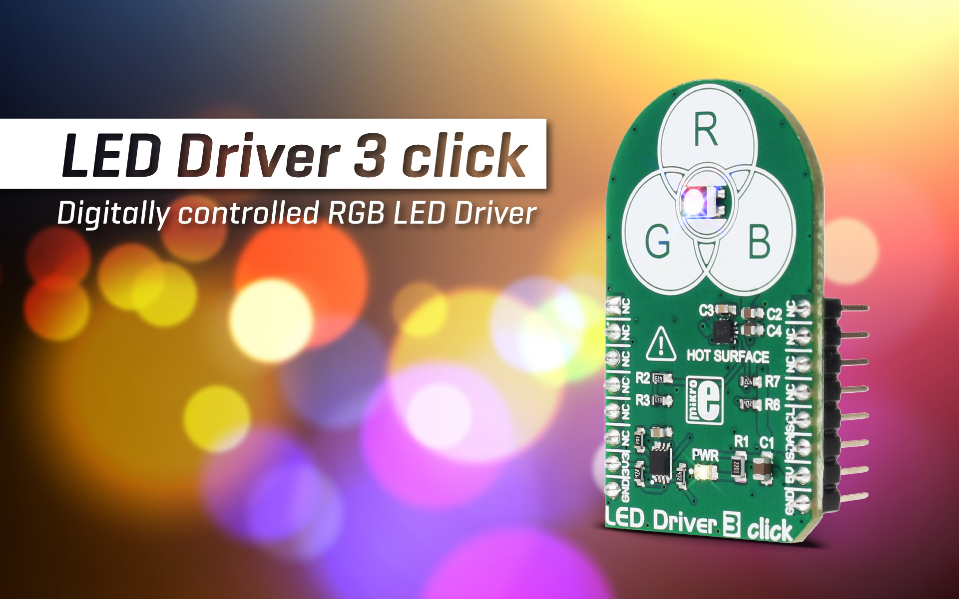 LED Driver 3 click - digitally control RGB LEDs