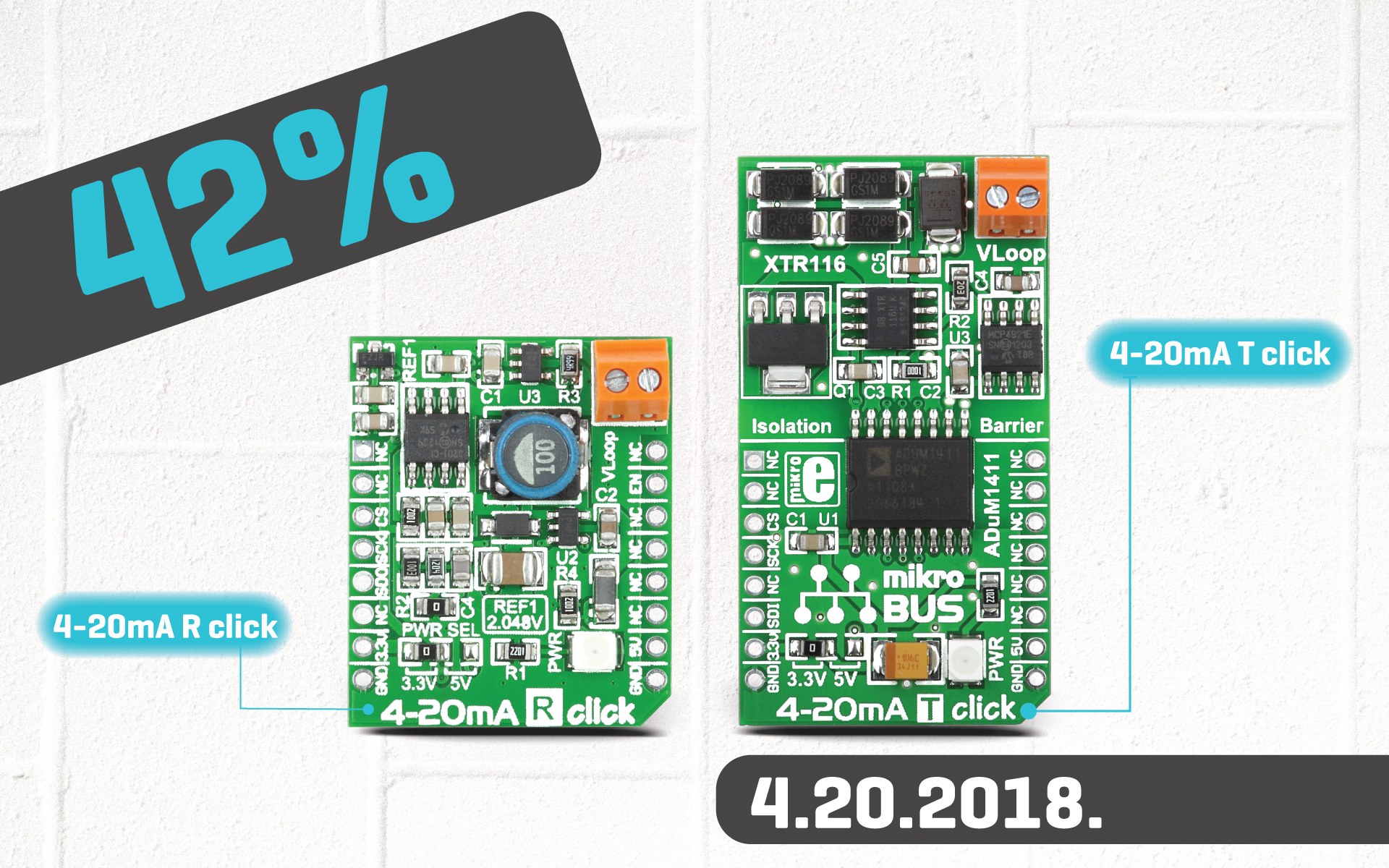 42% discount on 4-20 mA T click and 4-20 mA R click