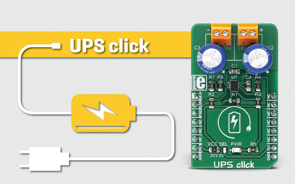 UPS click - a supercapacitor charger that provides a backup power supply
