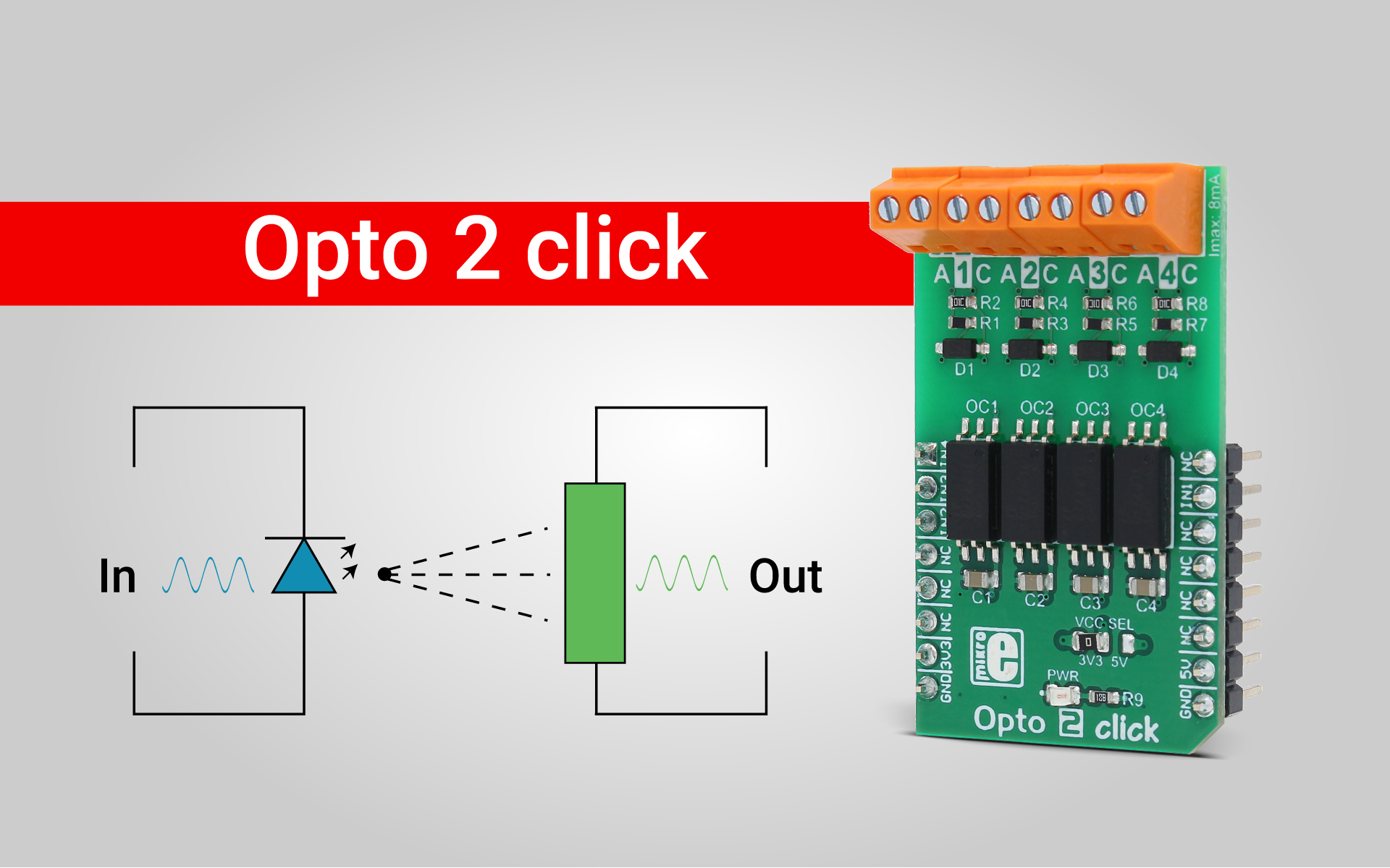 Opto 2 click - optical galvanic isolation on a Click board™