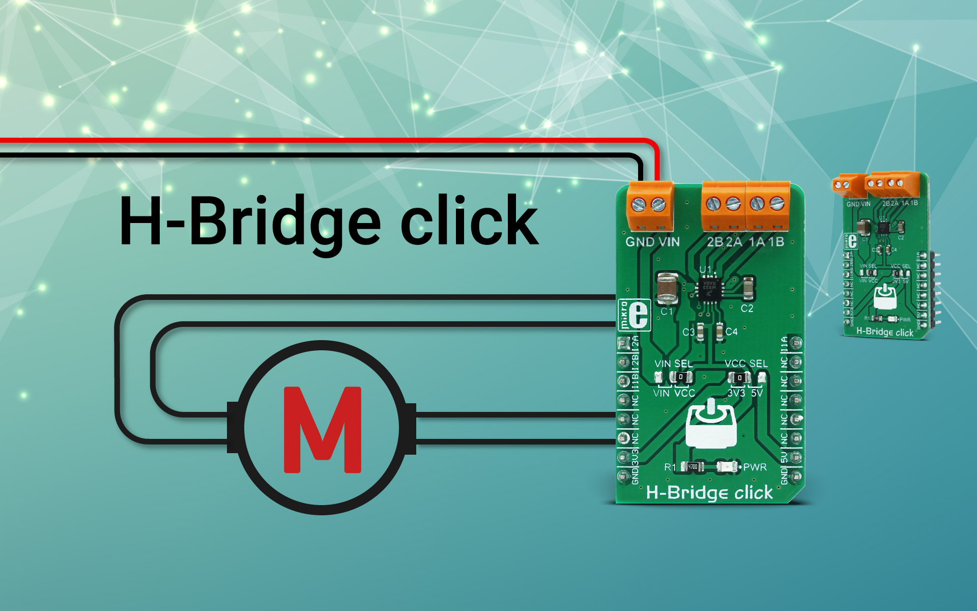 Ideal for driving small bipolar stepper motors - H-Bridge click