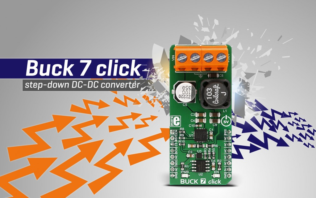 BUCK 7 click - programmed reduction of the input voltage