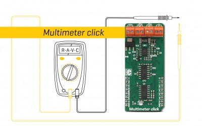 Multimeter click - measure voltage, current, resistance, and capacitance