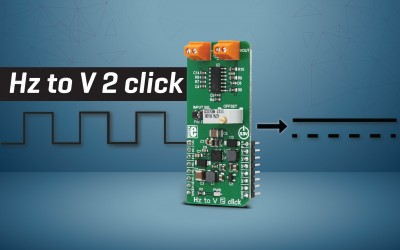 Hz to V 2 click - convert input frequency to DC voltage output