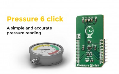 Pressure 6 click, a highly accurate pressure sensor perfect for simple reading.