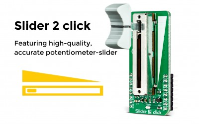 Slider 2 click is here, a potentiometer with a high-quality mechanical slider