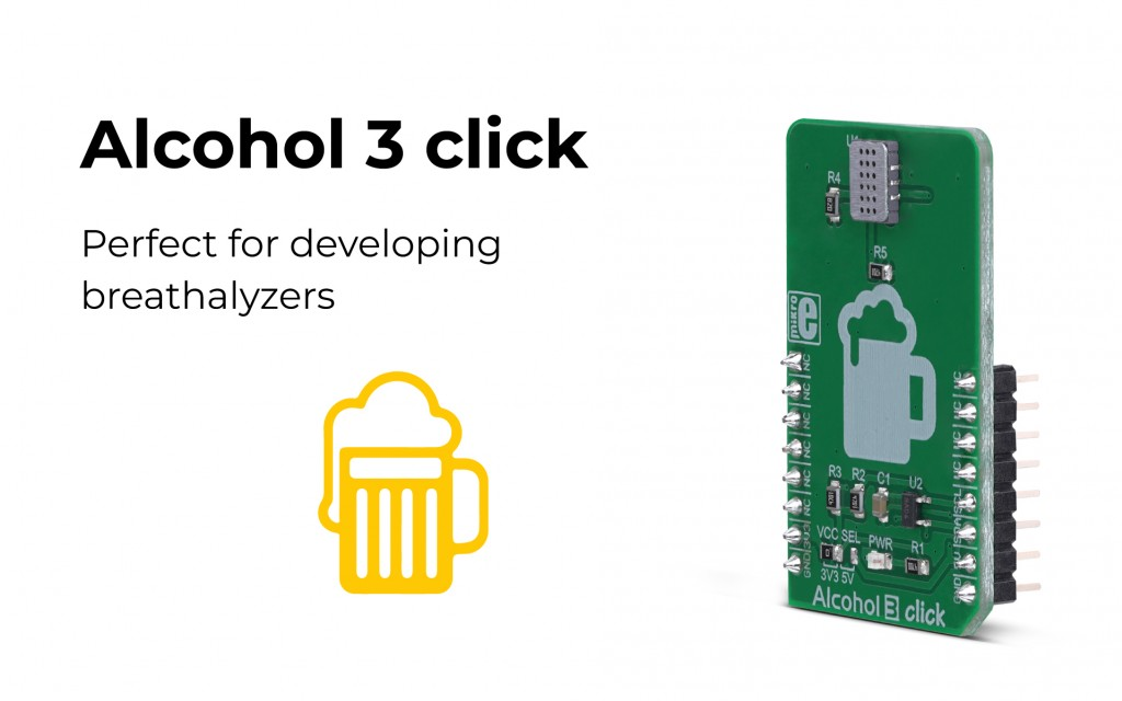 Alcohol 3 click, a gas sensor for rapid development is here