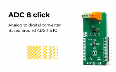 ADC 8 click – sampling signals on four single-ended or two differential input channels