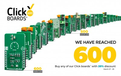 The first ever range of add-on boards is growing every day, reaching 600 Click boards™ today!