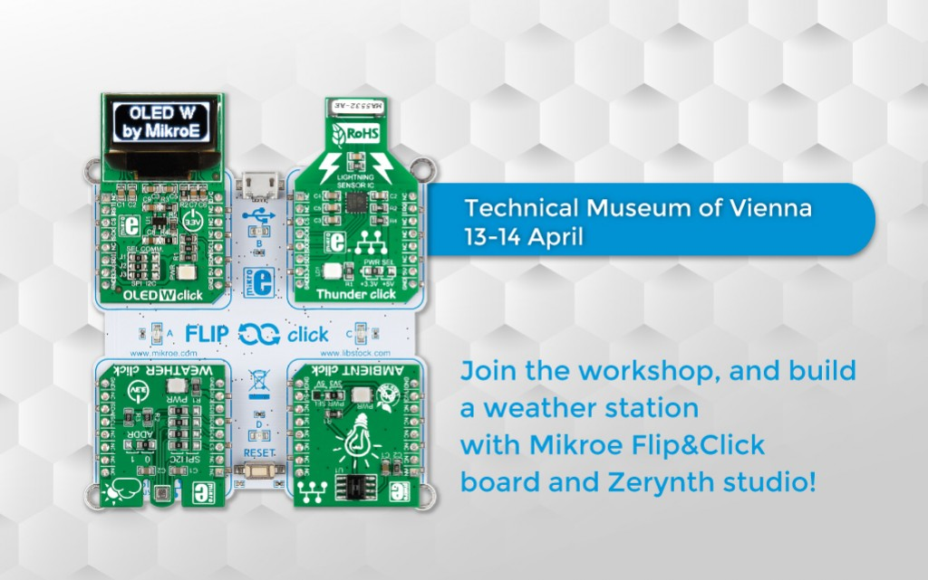 Build a weather station with Flip&Click and Weather click at the Technical Museum of Vienna this April!