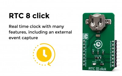 Real time clock (RTC) with many features, including an external event capture
