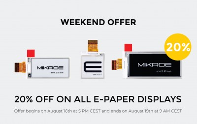 This weekend we are giving you a 20% discount on all E-Paper displays