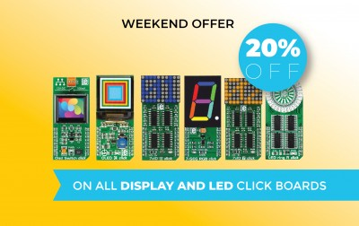 This weekend only - 20% off on all display and LED click boards