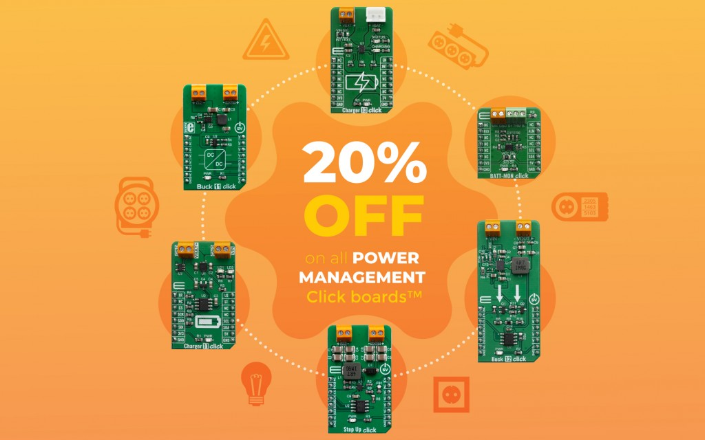 Special weekend offer – 20% discount on all Power Management click boards