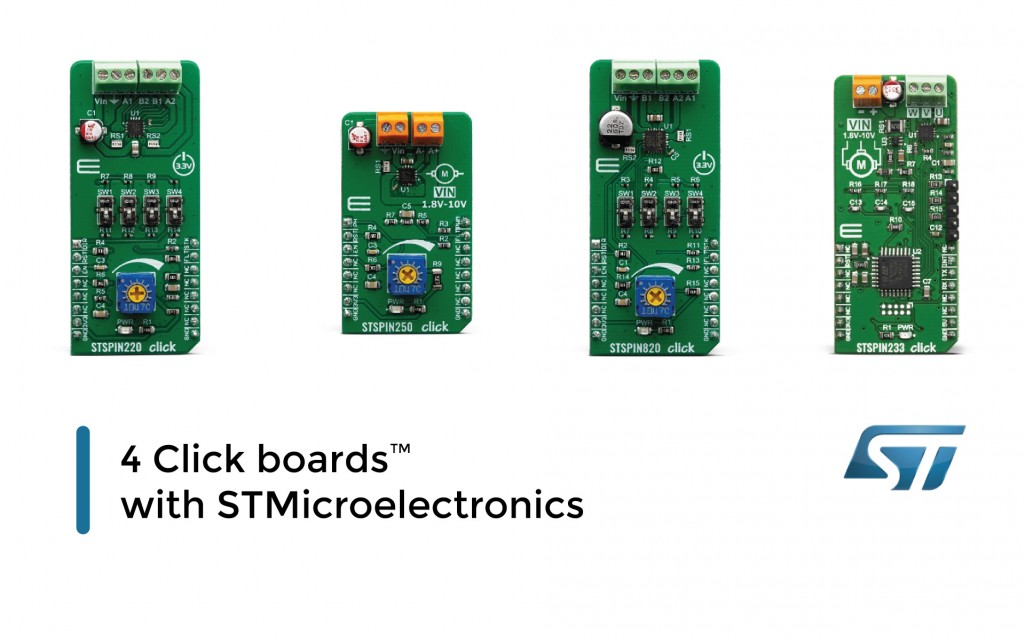 4 Click boards™ with STMicroelectronics