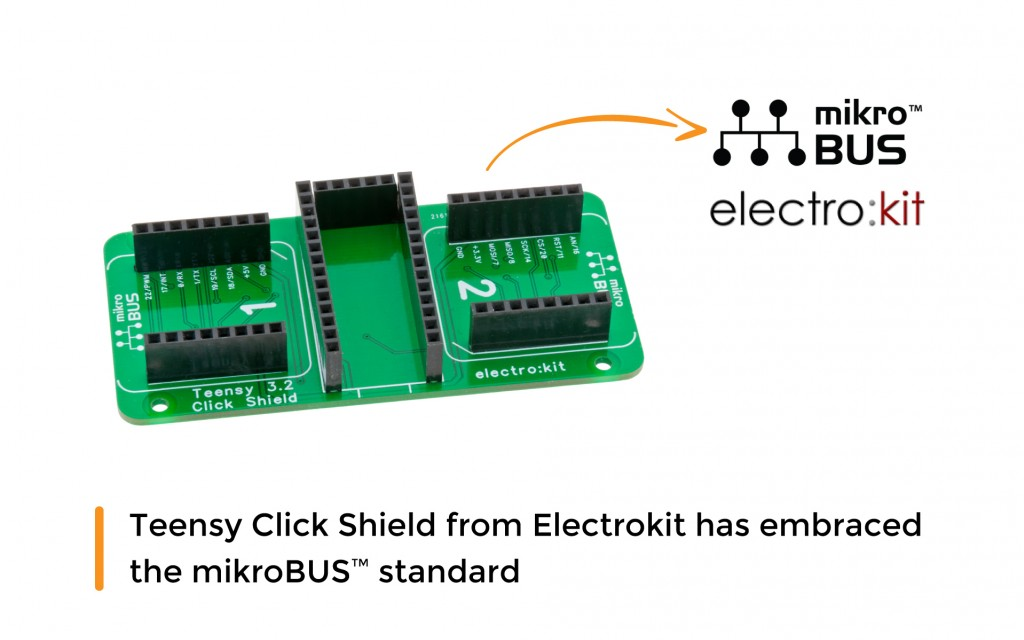 Teensy Click Shield from Electrokit has embraced the mikroBUS™ standard
