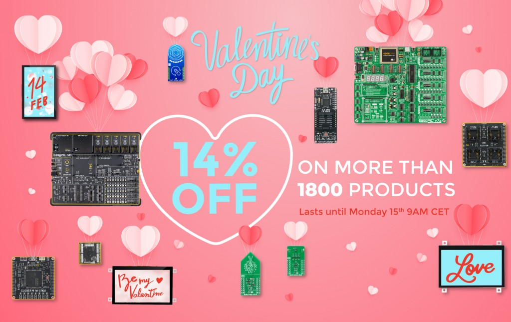 Happy Valentine's Day from Mikroe - 14% discount on all products