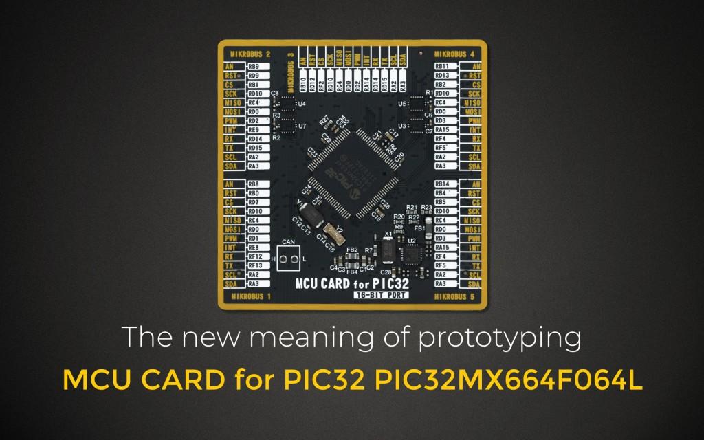 MCU CARD for PIC32 PIC32MX664F064L