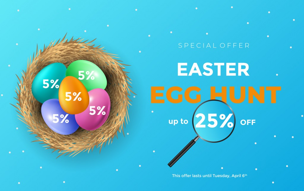 Easter Egg Hunt - up to 25% off on everything