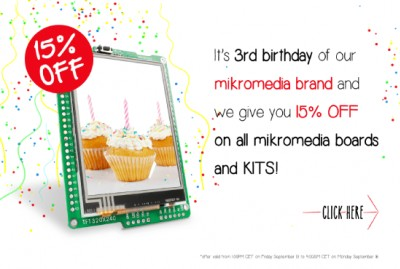 Celebrating mikromedia's 3rd birthday - 15% DISCOUNT on all mikromedia boards and kits!