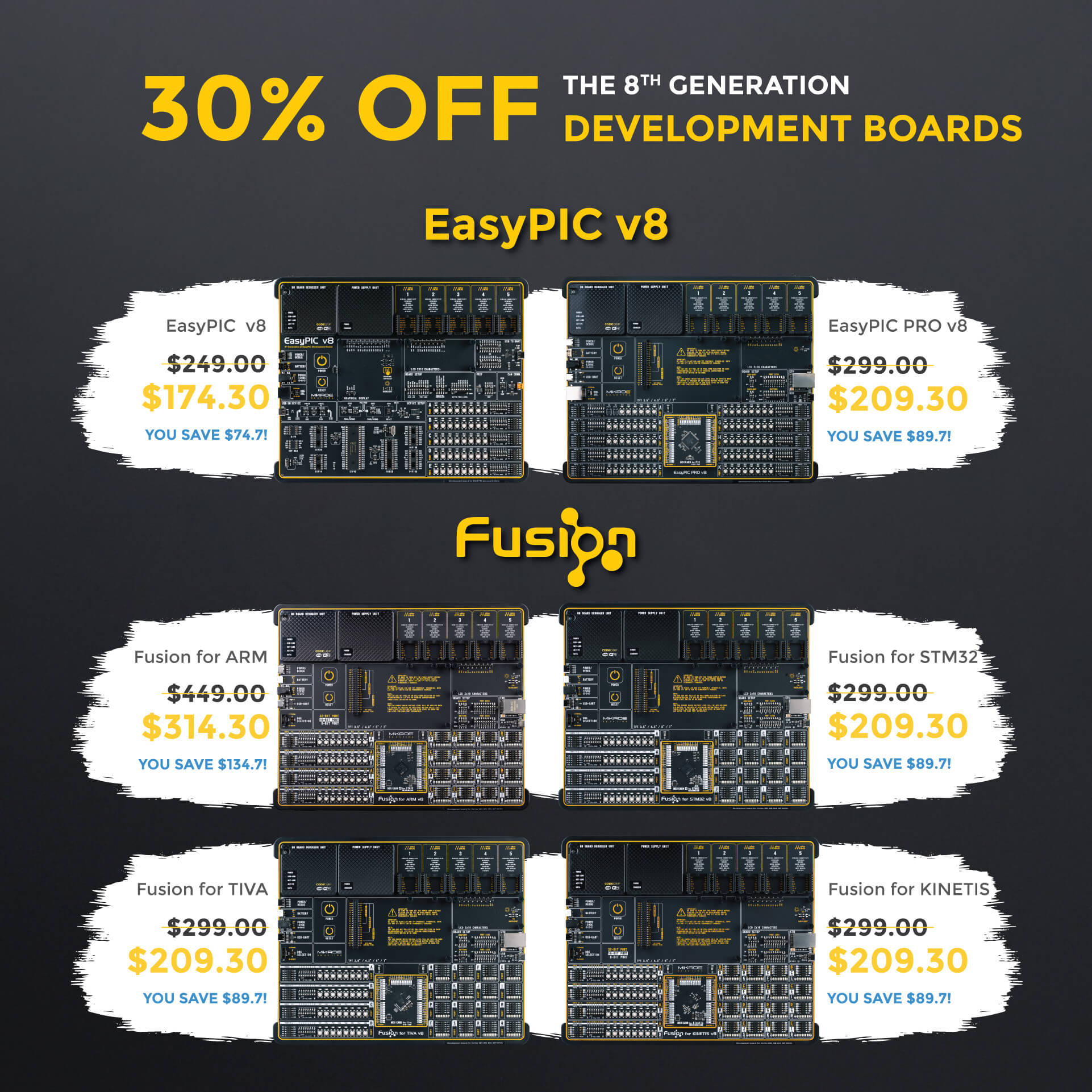 30% OFF DEVELOPMENT BOARDS