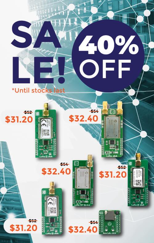LoRa Click boards™ SALE! 40% OFF